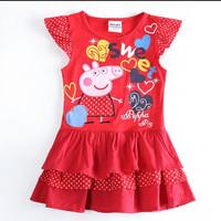 Rok pepa pig dress kaos baju anak cewek IMPORT bordir aplikasi branded