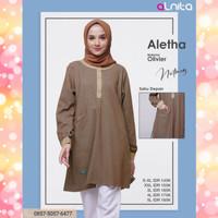 Alnita Tunik Aletha Warna Coklat Blus Atasan Knit Rajut Ganda Branded
