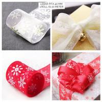 Pita Kado Natal Merry Christmas Hampers Ribbon Organdi Putih Merah