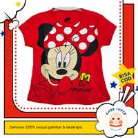 Baju/Kaos Anak Lengan Pendek Motif Minnie Mouse Merah 1 - 10 Tahun