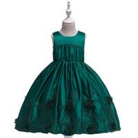Dress anak perempuan gaun party pakaian pesta ulangtahun bordir satin - 5-6 tahun, Hijau