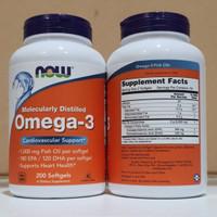 NOW Foods Omega-3 200 Softgels Fish Oil Original USA