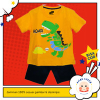 Setelan anak laki-laki motif Dino Roar 1-10 Thn