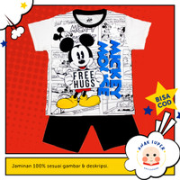 Setelan anak laki-laki motif Mickey Free Hugs 1-10 thn anak super