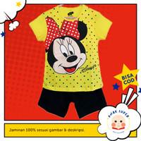 Setelan Anak Lengan Pendek Motif Minnie Mouse Yellow 1 - 10 Tahun