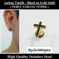 Anting Tindik Cowok Pria - Black in Gold Salib