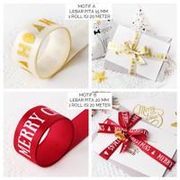 Pita kado Natal Merry Christmas Hampers Ribbon Merah Putih Emas 1roll