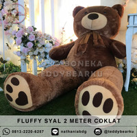 Boneka Teddy Bear FLUFFY SYAL MEGA JUMBO 2 METER WARNA COKLAT