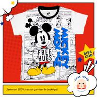 Kaos anak laki-laki motif Mickey Mouse Free Hug 1-10 thn anak super