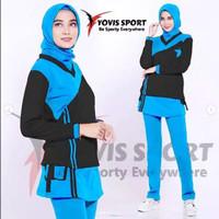 BS12 Baju Olahraga Wanita Senam Zumba Aerobik Setelan Rok Kantong