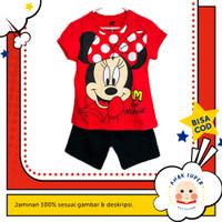 Setelan Anak Perempuan Lengan Pendek Motif Minnie Mouse Red 1-10 thn