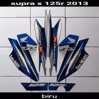 Striping sticker lis body honda supra x 125 one heart 2013 hitam biru