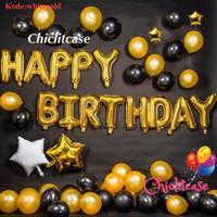 Paket set balon ulang tahun gold black hitam murah simpel birthday