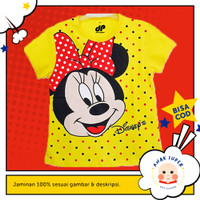 Baju/Kaos Anak Lengan Pendek Motif Minnie Mouse Yellow 1 - 10 Tahun