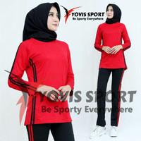 setelan baju senam muslimah set baju olahraga wanita stekan yovis