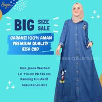 Baju Gamis Jeans Jins Jumbo Wanita Cewek Maxi Dress Fashion Muslim