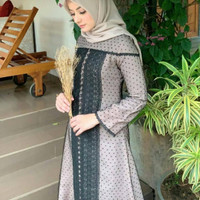 Abaya Gamis Arab hitam Prada dobel
