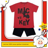 Baju anak laki-laki / Setelan anak laki-laki motif Mickey Mouse Red