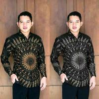Baju batik kemeja atasan pria lengan panjang motif terbaru matahari