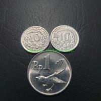TP-921 Uang Kuno Koin Mahar 21 rupiah Rp10kancing x 2pcs + Rp1 burung