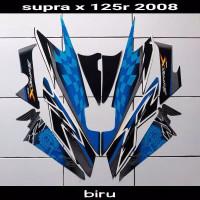Striping sticker lis body honda supra x 125 r 2008 2009 biru silver