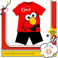 Setelan Baju/Kaos Anak Lengan Pendek Motif Elmo 1 - 10 Tahun - 1-2 Tahun