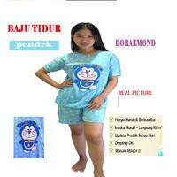 Baju tidur cewe 3/4 motif DORAEMON / baju tidur perempuan /piyama cewe