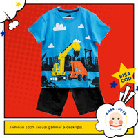 Setelan Baju/Kaos Anak Motif Crane Turkis 1 - 10 Tahun