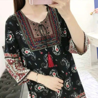 vintage etnik midi dress baju wanita import bohemian pantai korea
