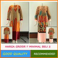 Gamis Batik Wanita Baju Kombinasi Polos Terbaru Abaya Solo [gbi]