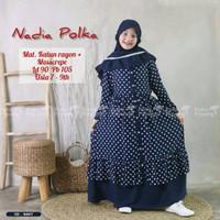 Baju Muslim Anak Perempuan Katun Polka Usia 7 SD 9 Tahun