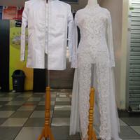 Kebaya akad//Kebaya sepasang baju Pengantin modern akad nikah putih re