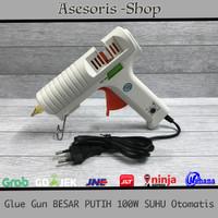 Glue Gun / Lem Tembak PUTIH 100W Besar TERBAIK suhu Atur Otomatis