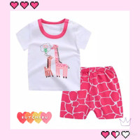 Setelan Piyama Baju Tidur Santai Anak Cewek Jerapah Pink Impor