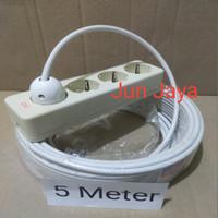 Stop Kontak Jadi Rakitan Kabel 5 Meter + Terminal Uticon isi 4 Lubang