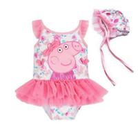 baju renang pepa pig set topi import anak bayi swimsuit