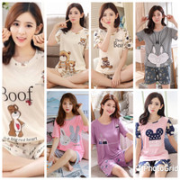 Baju Tidur Cewek Piyama Wanita Lengan Pendek Premium Import