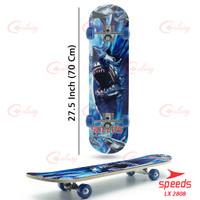 Skateboard Dewasa Besar Alas Pasir Kayu Skate Board 2808 Sand - PAPANATAS MOTIF, HIU