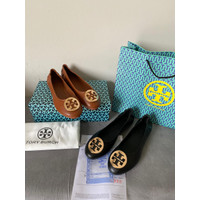 Flat shoes Tory burch classic leather minnie travel
