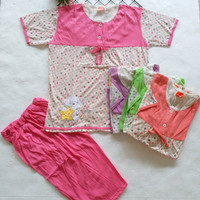 baju tidur babydoll amro celana 3/4 Merah 3773