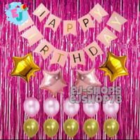 Paket Dekorasi Hiasan Balon Ulang Tahun Pink / Paket Ultah Pink