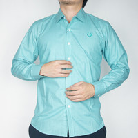 Odza Classic Kemeja SLIMFIT Lengan Panjang Pria Polos Hijau Mint A