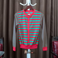 Baju Atasan Sweater Anak Perempuan Motif belang merah Hijau lucu