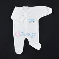 MIYO Baju Kodok Panjang Rib Tutup Kaki Bayi/Baby Putih New Born (0-3M)
