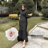 Dress selyana hitam xl Baju pesta brukat gamis duyung murah celm at