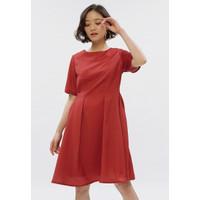 MINIMAL Side Pleated Flare Dress Red Velvet