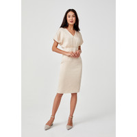 Edalene Drop Shoulder Midi Dress - Cream