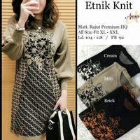 Baju Atasan Wanita Blouse Muslim New Etnik Knit Tunik
