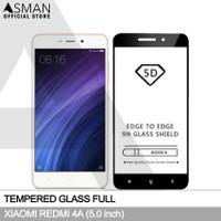 Tempered Glass Full Xiaomi Redmi 4A (5.0) | Anti Gores Kaca - Hitam