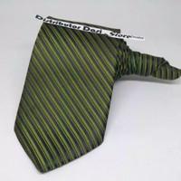 dasi pria panjang hijau army garis halus